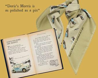 Scarf, novelty print, Morris Minor, vintage car, retro, British, illustration