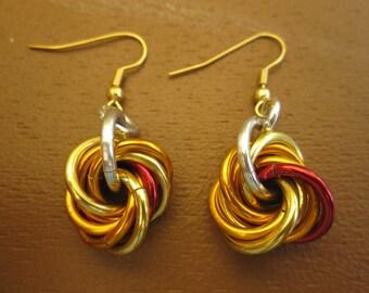 Servants of the Flamebringer Fireball Mobius Knot Earrings