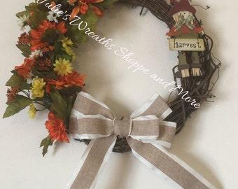 Fall Grapevine Wreath, Harvest Wteath, Fall Door Decor, Fall Flower Grapevine Wreath, Autumn Wreath
