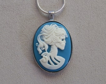 Necklace, Skeleton Bride Resin Pendant, Teal Blue, with Sterling Silver Snake Chain