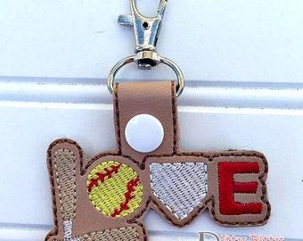Softball - Love - Keychain