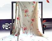 Wide Japanese style cotton fabric, Magnolia flower fabric,butterfly fabric,Hanfu/ kimono/sheet/ dress /cotton twill fabric--1/2 yard