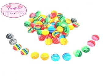 100 cabochons flat back in stripes Multicolores 12 mm