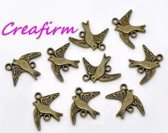 50 connectors bird Pigeon Bronze