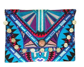 Blue and red Boho tribal embroidered bag with coins, festival clutch