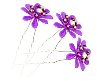 Women Petal Decoration Wedding Purple Flower Hair Pin Hair Clip Hairpin (Set of 3)