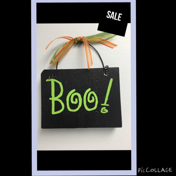 Stunning Halloween signs Halloween wall decor Looking for cute Halloween decor Consider this Boo sign handpainted in black with green