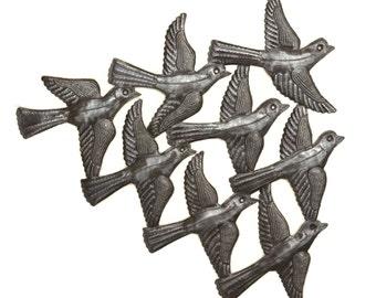 "Spring Garden Flock of Birds Wall Art, Haiti Metal Art, Recycled Steel, Handmade 15.5"" X 12.5"""