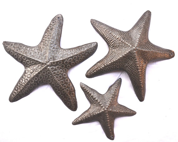 """Starfish, Set of 3, Nautical Home Decor, Recycled Wall Art 8"""", 8"""", and 5"""""""