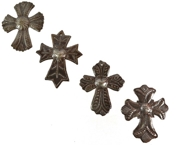 "Small Haitian Metal Milagro Crosses (set of 4) 3 1/2"" X 4 1/2"""