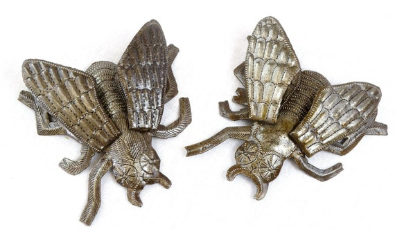 "Metal  ""Fly on the Wall"", hand cut from Recycled Steel Barrels in Haiti, (Set of 2) 3-Dimensional Wings, 5"" x 5.5"""