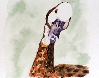Duck with Attitude - 6x6 Original Watercolor Painting