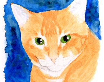 The Orangest Tabby - 6x6 Original Watercolor Painting