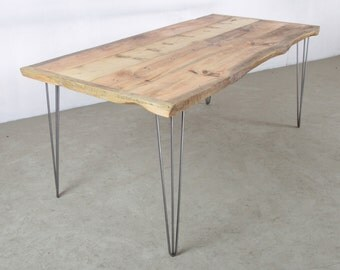 Natural wood table, made from Salvaged wood with elegant yet sturdy steel Hairpin Legs, The Natural Kent Table