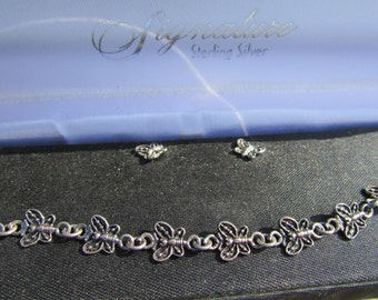 Delicate Oxidized Sterling Silver Butterfly Bracelet and Earrings