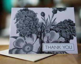 Vintage Flowers Thank You with a Pink Background