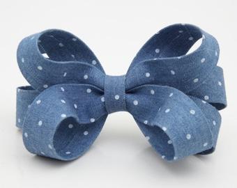 Handmade Polka Dot Loop Bow French Barrette Free Shipping Women Hair Accessories