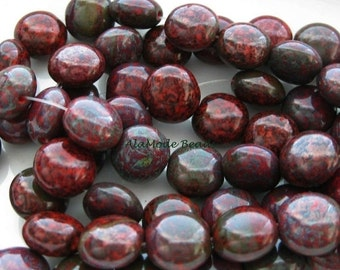 ON SALE Scarlet Picasso Puffed Czech Coin Beads (15) Czech Coin Beads 10MM