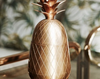 "Retro Brass hollywood regency brass pineapple 12"" high"