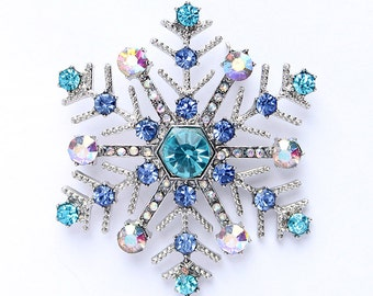 Blue Snowflake Brooch Winter Wonderland Wedding Jewelry Bridal Bouquet Snowflake Brooches DIY Crystal Snowflake Blue Christmas Broaches