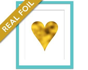Gold Heart Art Print - Gold Foil Print - Nursery Wall Art - Gold Heart Silhouette - Bedroom Decor - Elegant Art - Minimalist Art - Valentine