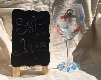 Anchor fish wine glass