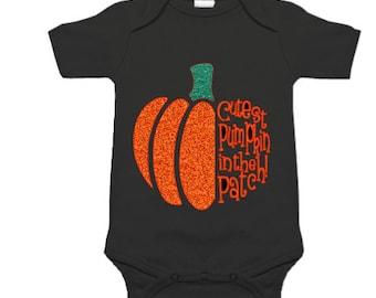 Personalized Halloween onesie - Cute Pumpkin onesie - Holiday Onesie - Cutest pumpkin in the patch