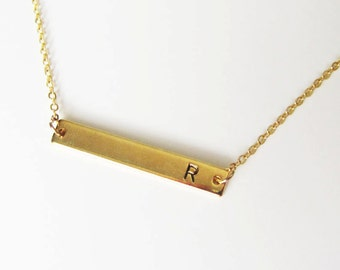 initial bar necklace, bar necklace,Bridesmaid Gift,Christmas gift,gold plate Bar necklace,gift idea,gift for her, Personalized necklace