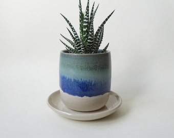 Small Pot with drainage hole and tray - Blue Green & White Vase - Handmade Ceramic pot with saucer drip tray- Succulent and small plants