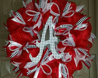 Alabama Crimson Tide houndstooth deco mesh wreath