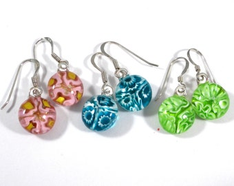 Aqua Blue Floral Dangle Earrings with Sterling Silver Hooks, also in Pink or Lime Green Millefiori, Fused Glass Jewelry
