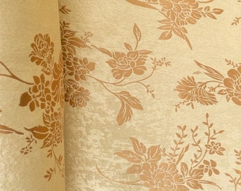 Gold Velvet Jacquard Damask Fabric 118u0027u0027 Wide Sold By The Yard For Curtains,