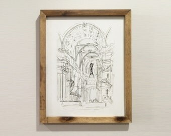 Saint Paul's Cathedral in London Interior Hand Sketch Print