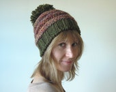 Slouchy beanie hat  - hand knit pom-pom wool hat, forest green women/teen girl winter accessory, READY TO SHIP