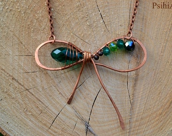 Copper bow necklace Bow jewelry Bow necklace Copper necklace Hammered necklace Hammered copper Gift for her Copper wire jewelry Wire wrapped