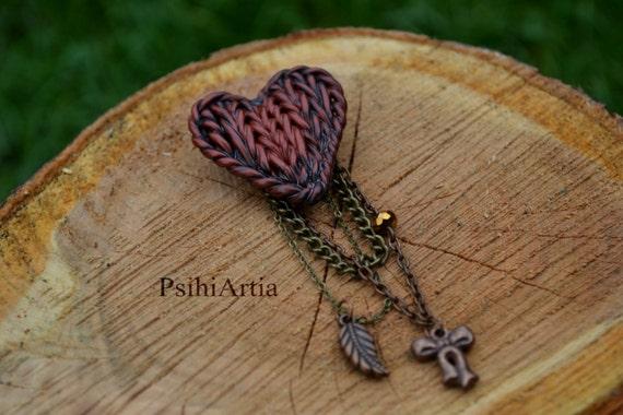 Heart brooch Heart knitted brooch Heart shaped brooch Polymer clay brooch Knitted effect brooch Polymer clay heart Knitted heart brooch OOAK