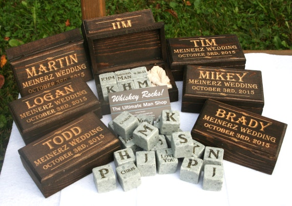 Set of 7 cool groomsmen gift ideas 6 engraved whiskey stones in a