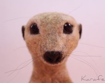 Needle felted meerkat sculpture