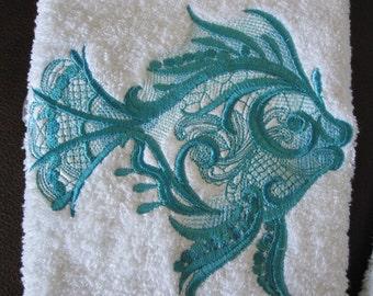 Machine Embroidered Hand Towel.  Turquiose Fish