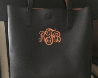Monogrammed Tote Bag Embroidered Personalized Shoulder Bag Purse
