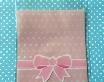Cute Pink Bow Cellophane Bags