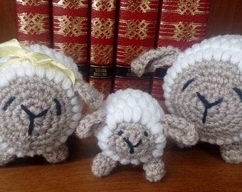 Lamb Soft Toy, Crocheted Sheep Family