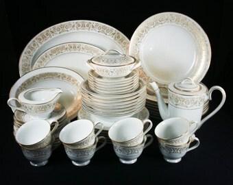 Noritake Raphael 50 Pc China Set - Coffee Pot, Cups, Platter, Cream & Sugar Lid