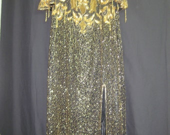Black/gold long gown#7021