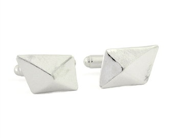 Architect cufflinks, geometric cufflinks, unique silver cufflinks, modern cufflinks, edgy men's jewellery, handmade, unique gifts for men