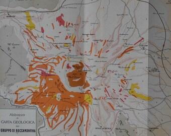 1898 Map Roccamonfina Volcano Italy. Abbozzo di Carta Geoligica del Gruppo di Roccamonfina. Vintage Original Lithograph Map.