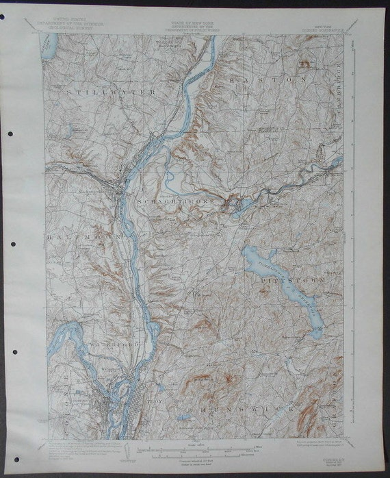 1937 Large Vintage Topographic Map Stillwater Easton Scaghtie Halfmoon Pittstown Troy New York Ny Cohoes Quadrangle Ny Usgs Topo