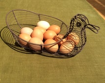 Vintage French duck-shaped wire egg basket