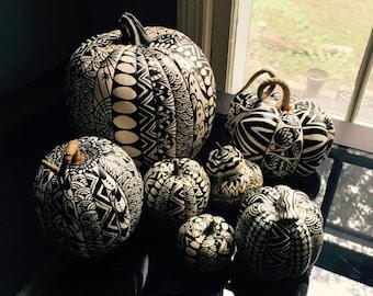Hand-decorated artificial pumpkins