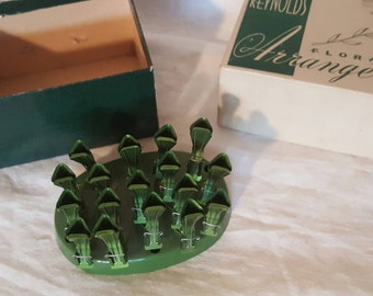 Reynolds Metal Floral Frog Arranger, Vintage Floral Display, Green Floral Arranger,